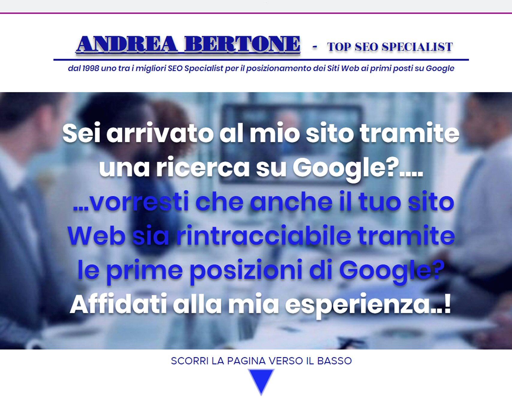 ANDREA BERTONE POSIZIONAMENTO SITI SU GOOGLE